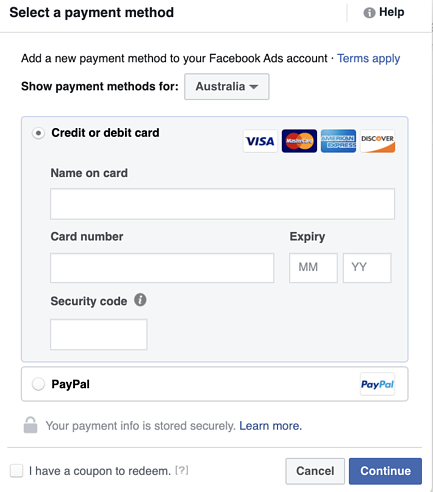 Add a Payment Method For Your Boosted Post