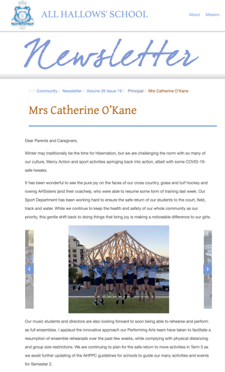 All Hallows School Newsletter Example