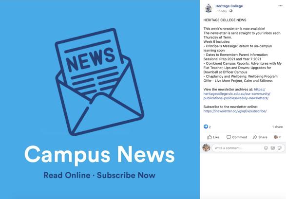 Heritage College Victoria Facebook Newsletter Post