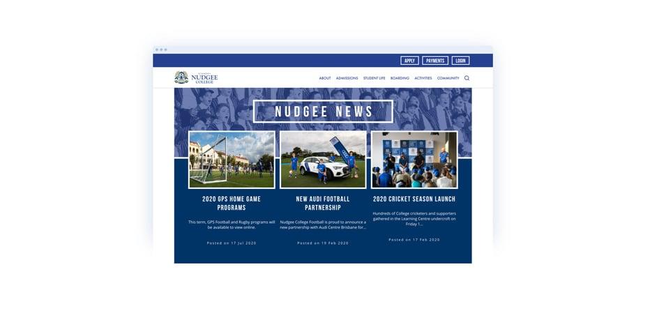 Screenshot of Nudgee College Newsletter