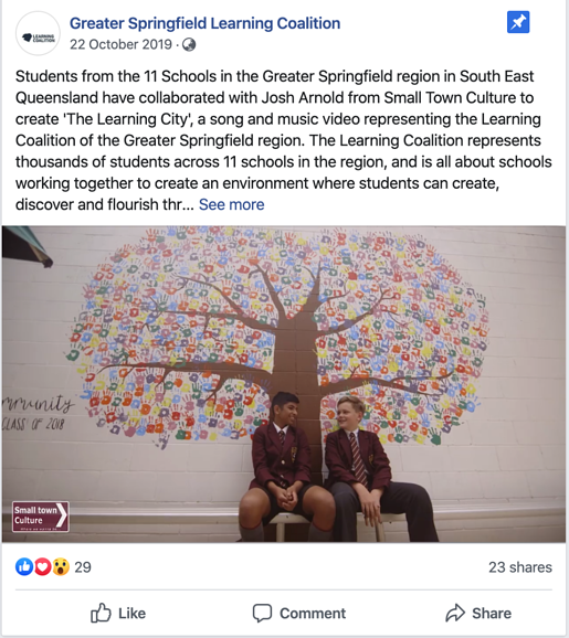 Facebook post: Greater Springfield Learning Coalition