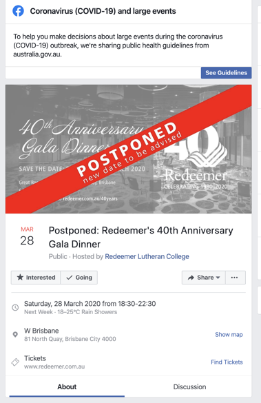 Redeemer Lutheran College event postponed