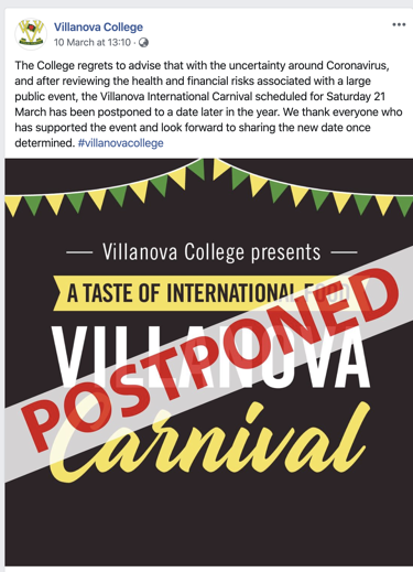 Villanova College event postponed