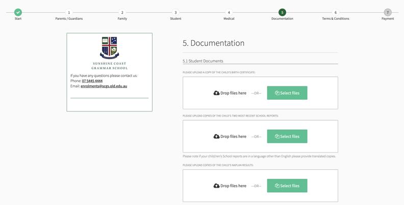 Sunshine Coast Grammar School Enrollment Application