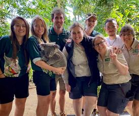 Photo of Ava holding a Koala